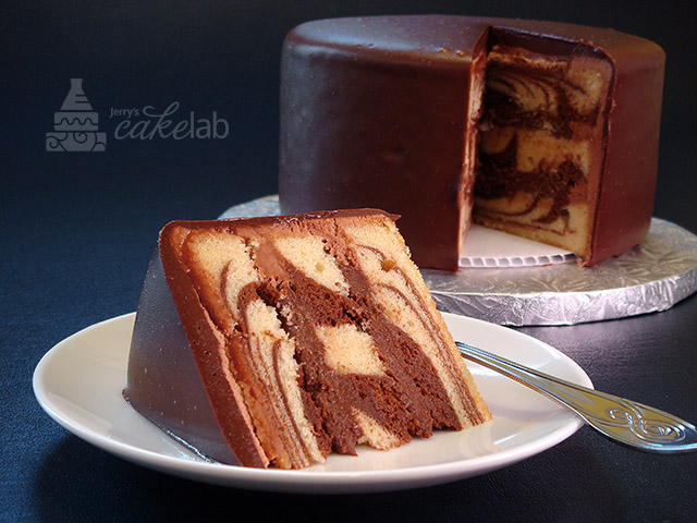 Homemade Marble Cake With Chocolate Frosting