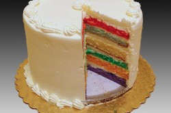 Rainbow Cake, Vanilla Buttercream Icing and Filling